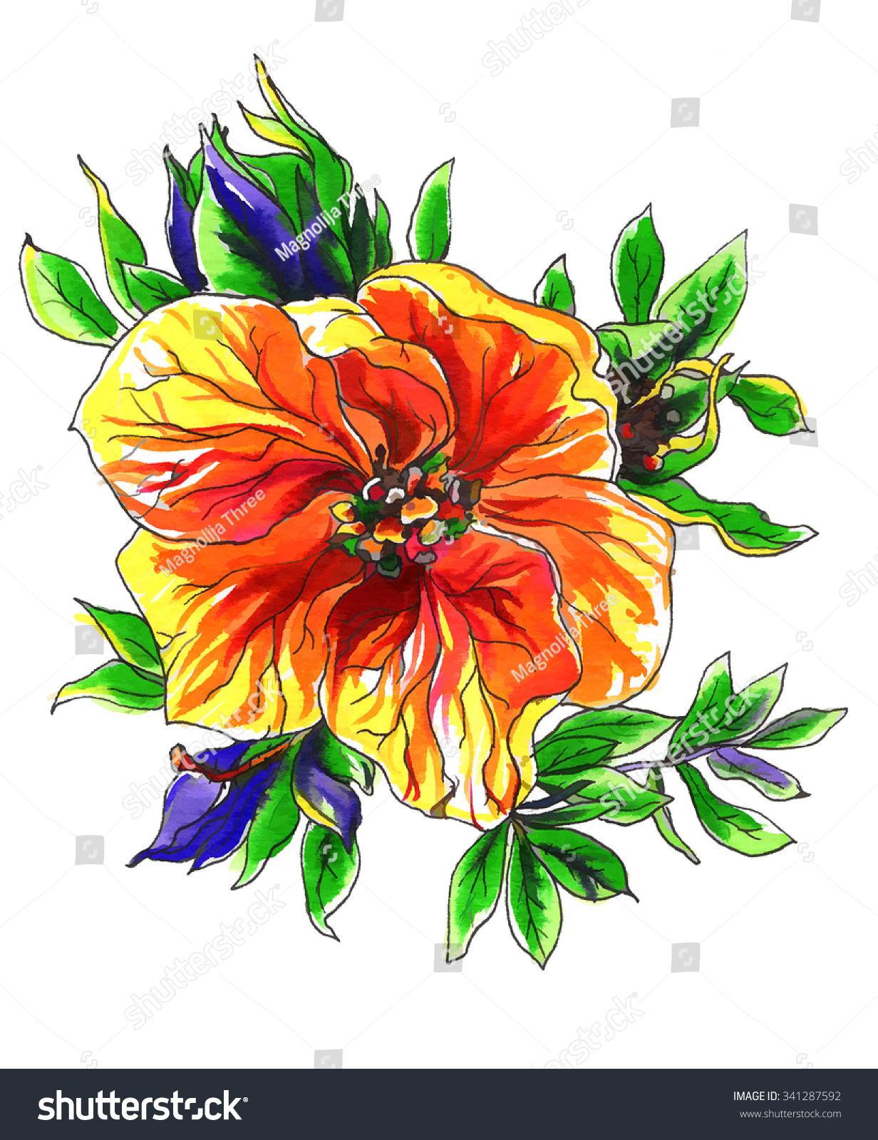 Orange Tropical Exotic Mango Flower Wedding Stock Illustration ...