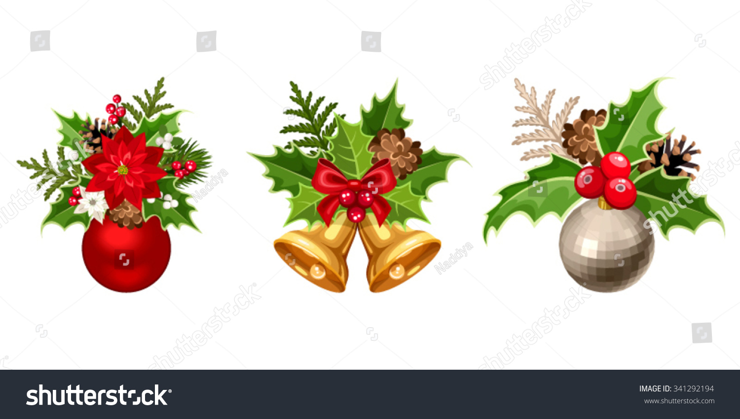 Set of three vector christmas decorations with balls for Fir cone christmas tree decorations