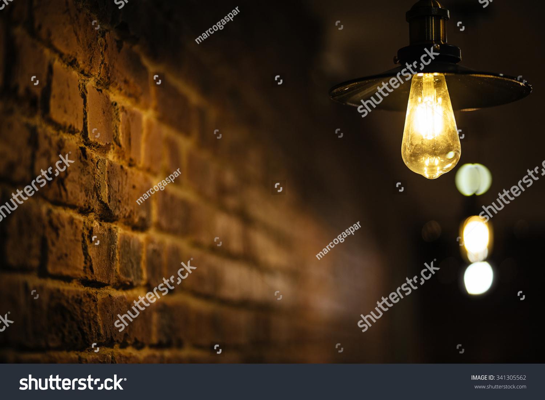 On Focus Lamp Lightning Brick Wall Stock Photo (Royalty Free ...
