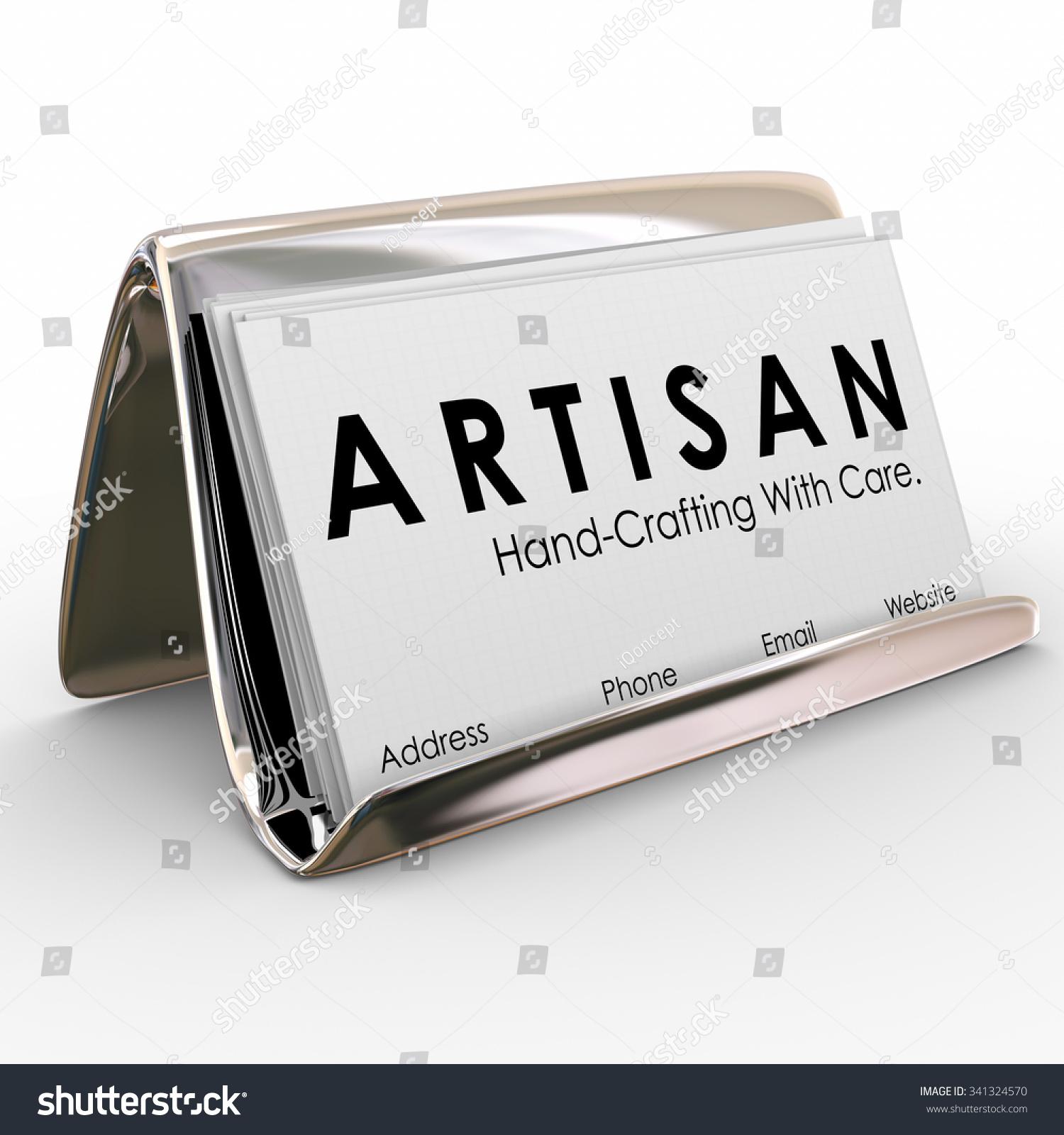 artisan word on business cards holder stock illustration