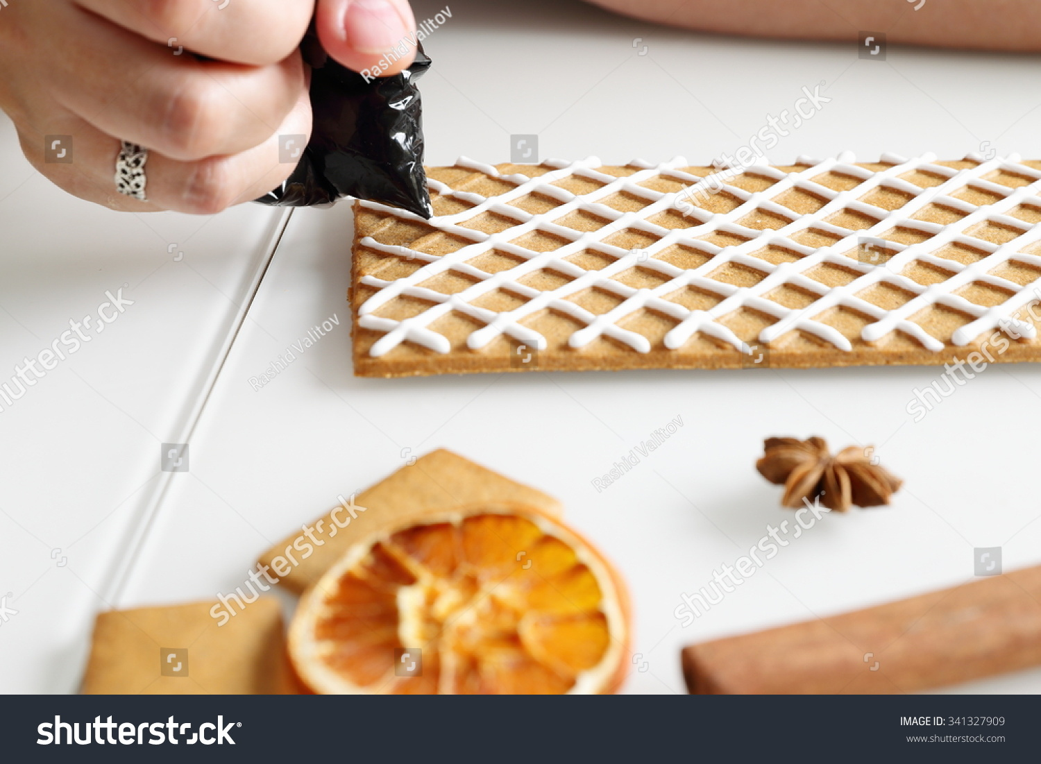 Making Christmas Gingerbread House Roof Decorating Stock Photo (Edit ...
