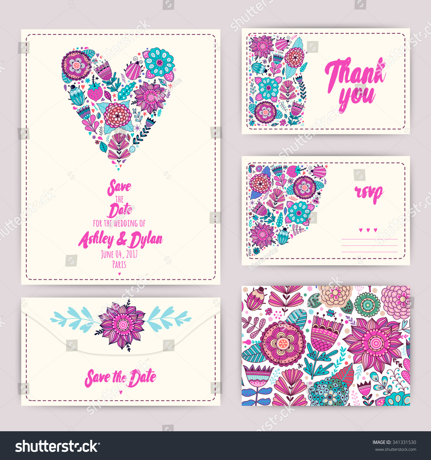 Wedding Invitation Template Invitation Envelope Thank Stock Vector ...
