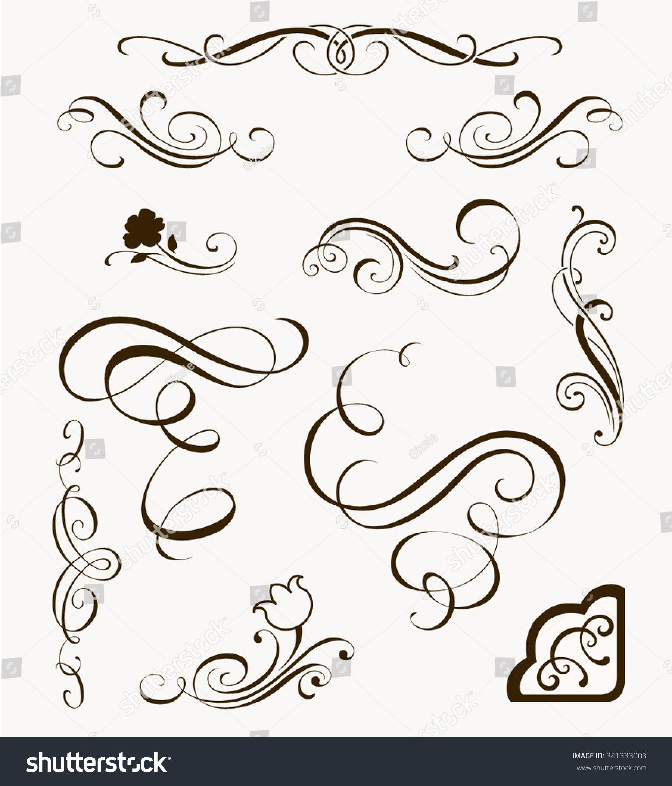 Set decorative flourish elements calligraphic ornaments