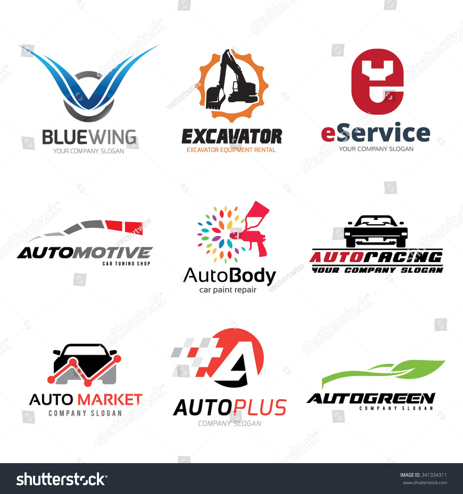 Automotive Logo Set Car Services Symbol Stock Vector Royalty Free