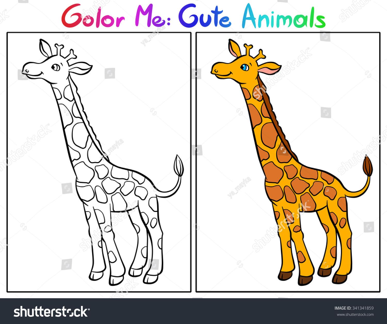 color me cute animals giraffe coloring stock illustration