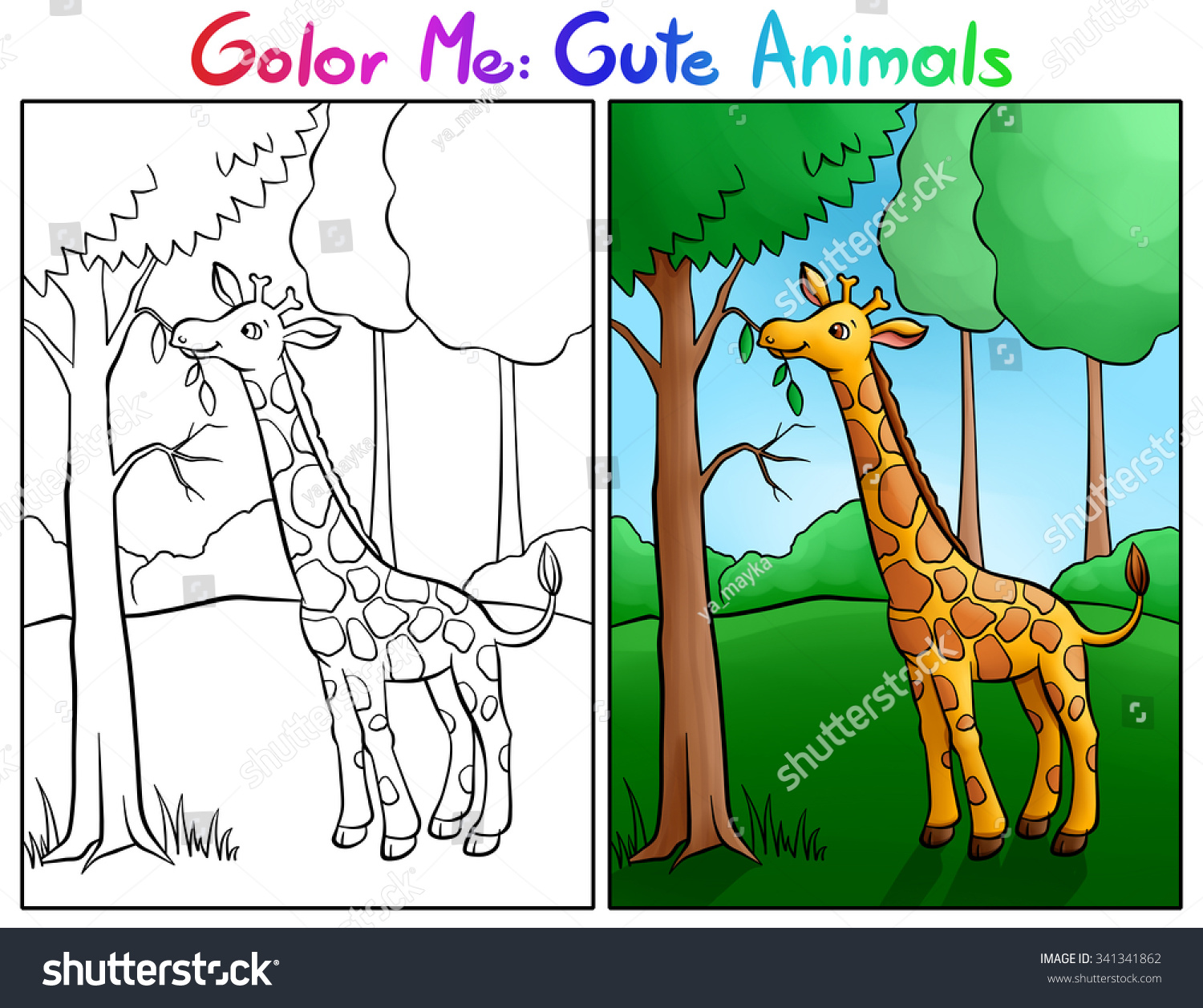 Colour Me Animals : Color me cute animals little giraffe eat leaves in