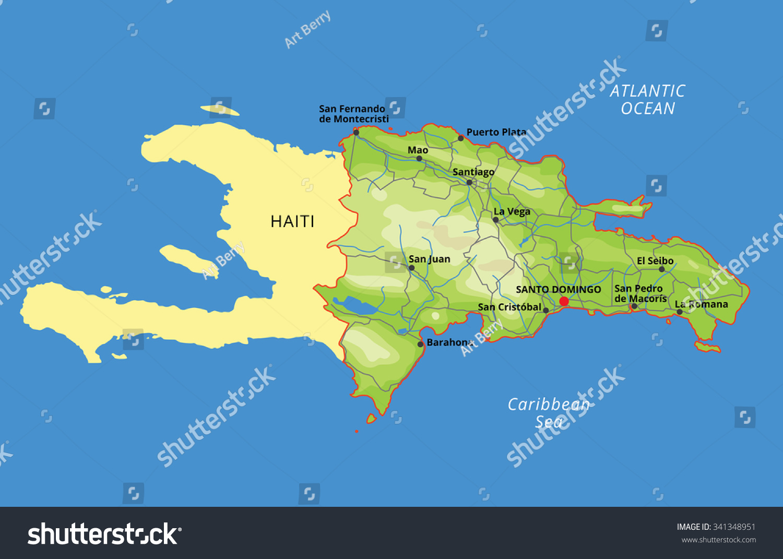 Vector Color Map Dominican Republic Capital Stock Vector - Dominican republic cities map
