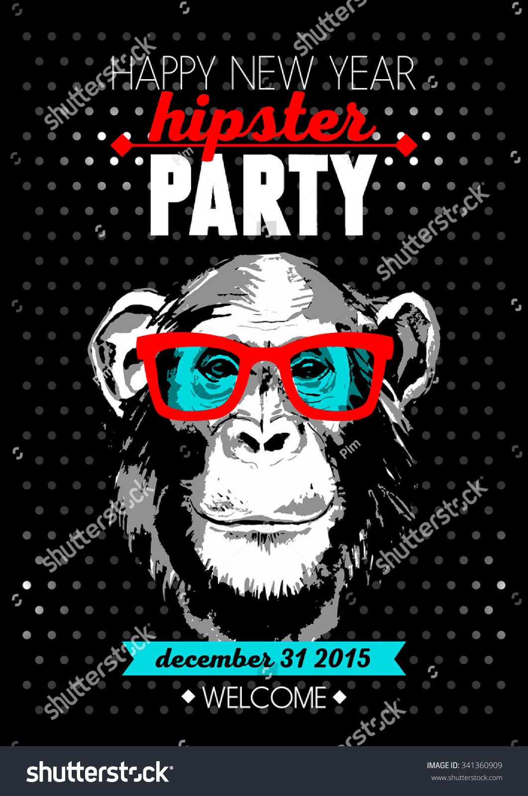 Holiday poster for Merry Christmas and Happy New Year Hipster party with hand drawn sketch monkey portrait Vector illustration for card print fashion design and t-shirt graphics