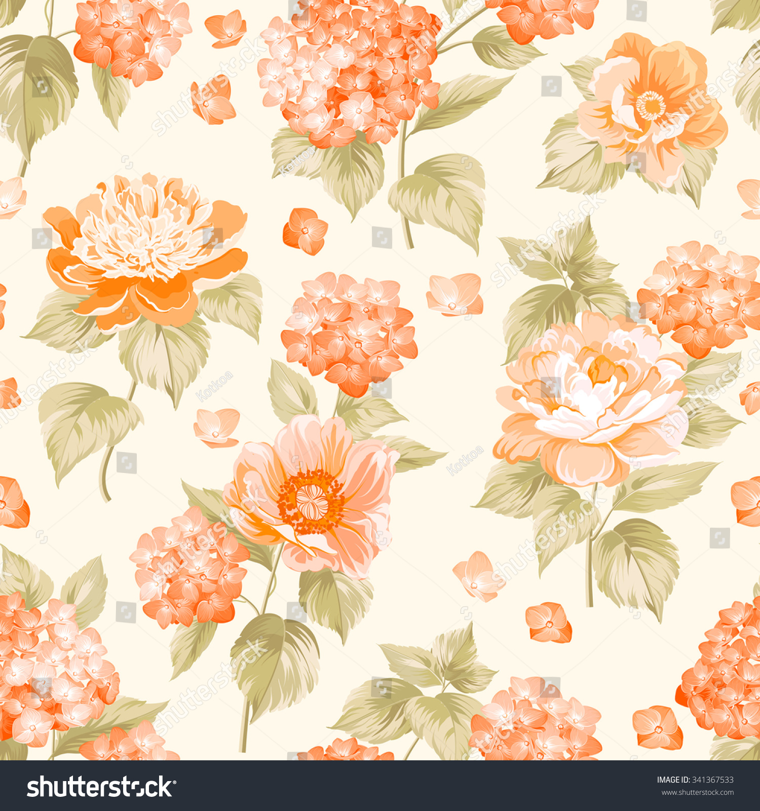 Royalty-free The floral seamless pattern over light… #341367533 ... for Background Pattern Light Orange  61obs