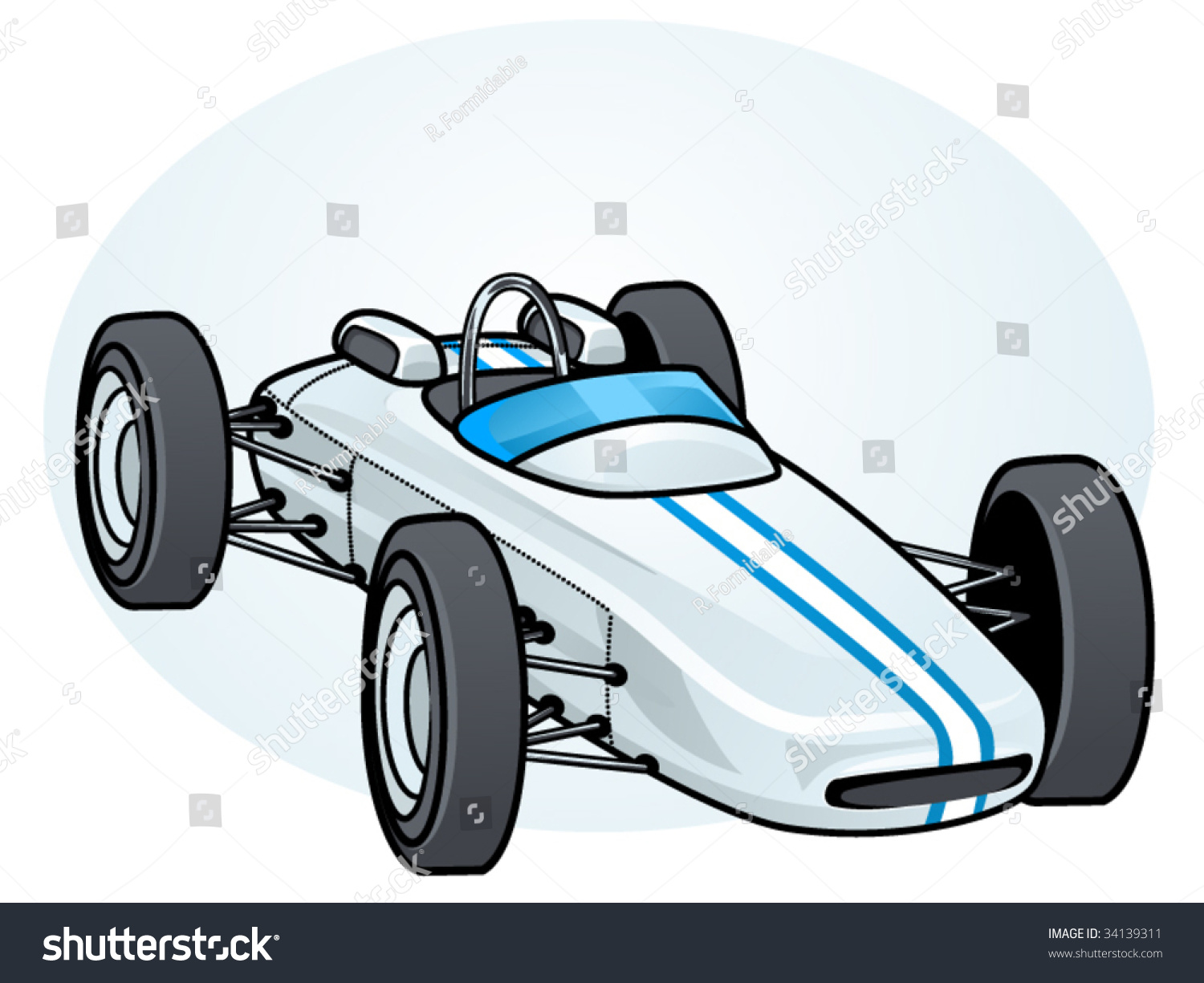 Vector Illustration Vintage Formula 1 Race Stock 34139311