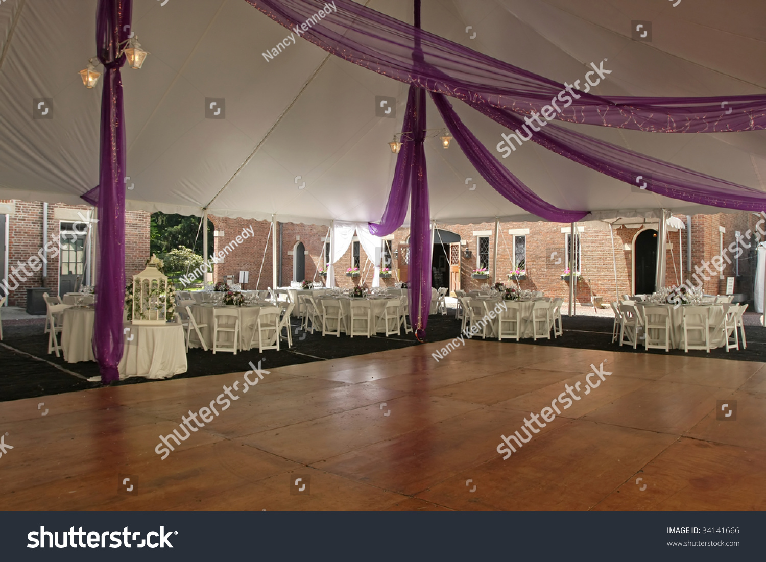 Dance Floor Under Tent Outdoor Wedding Stock Photo 34141666 ...