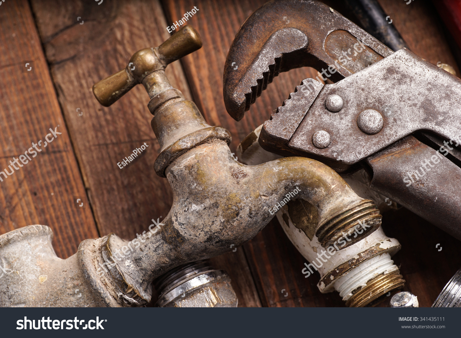 Plumbing tools lying old pipes faucets stock photo for What are old plumbing pipes made of