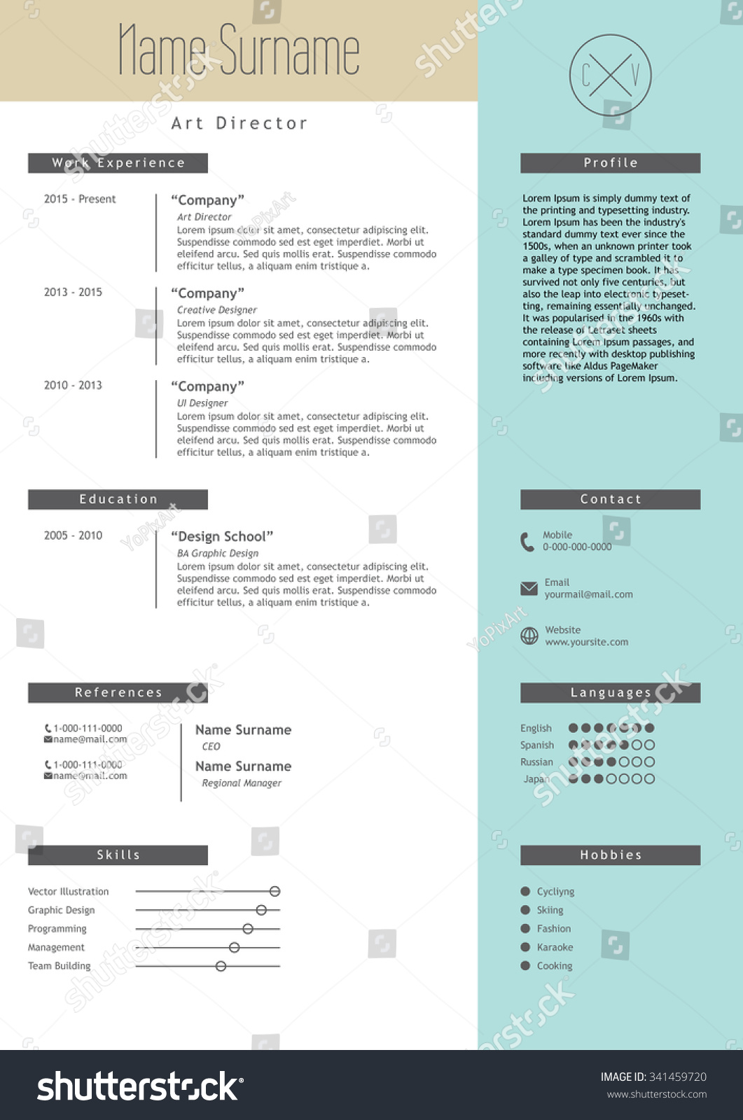 Vector Creative Resume Template Minimalistic Blue Stock Vector