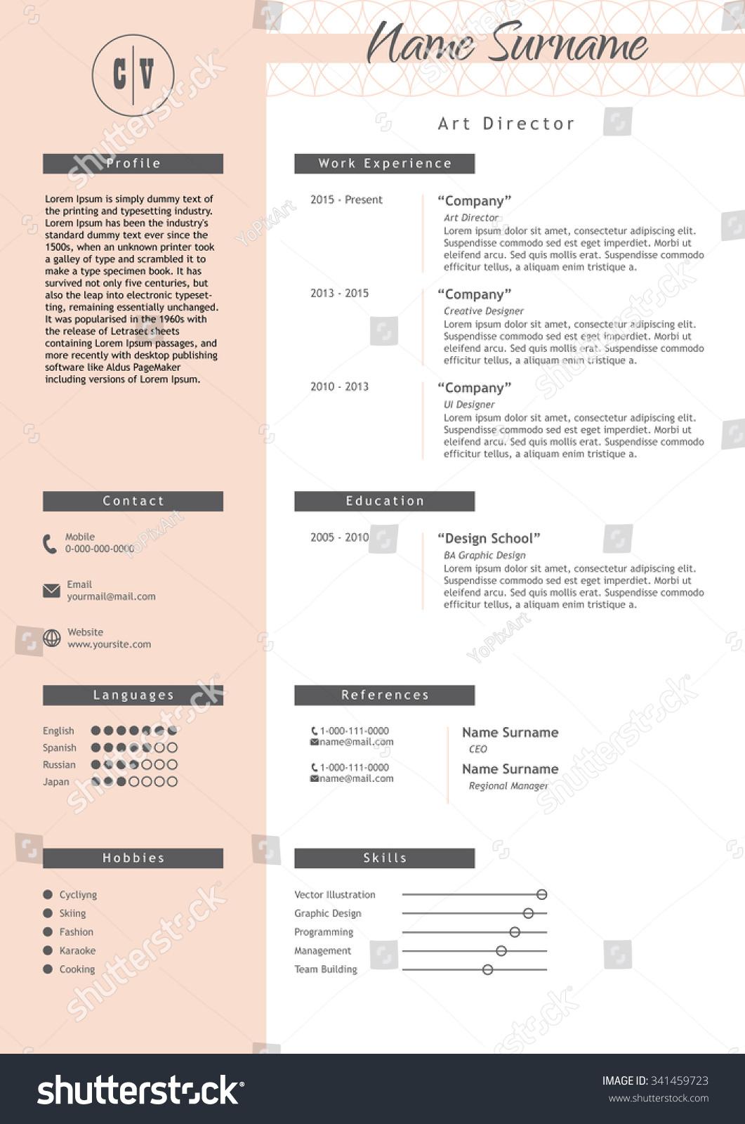 vector creative resume template minimalistic pink stock vector