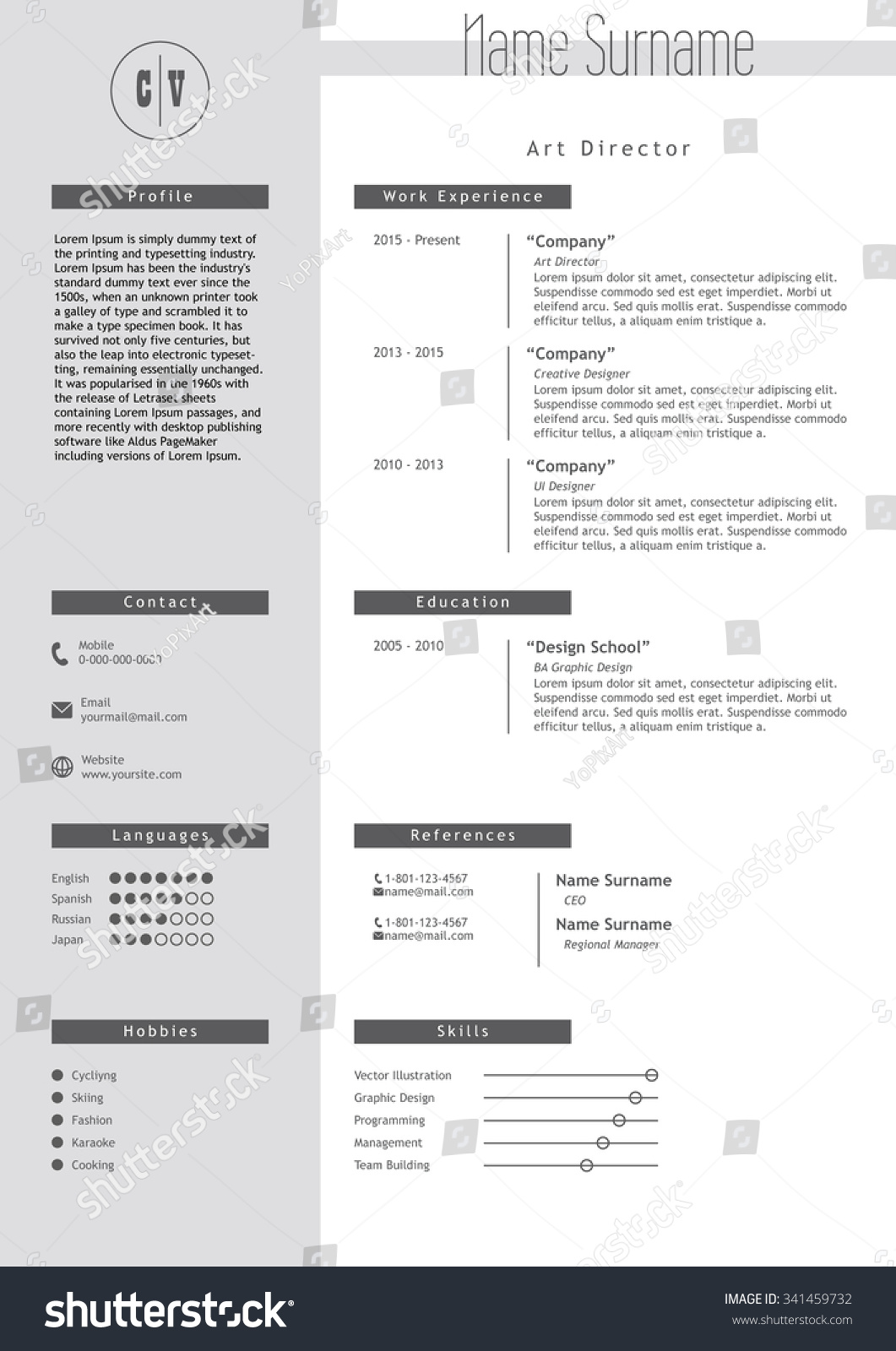 resume Infographic Style Resume vector creative resume template minimalistic gray stock photo and white style cv light infographic elements