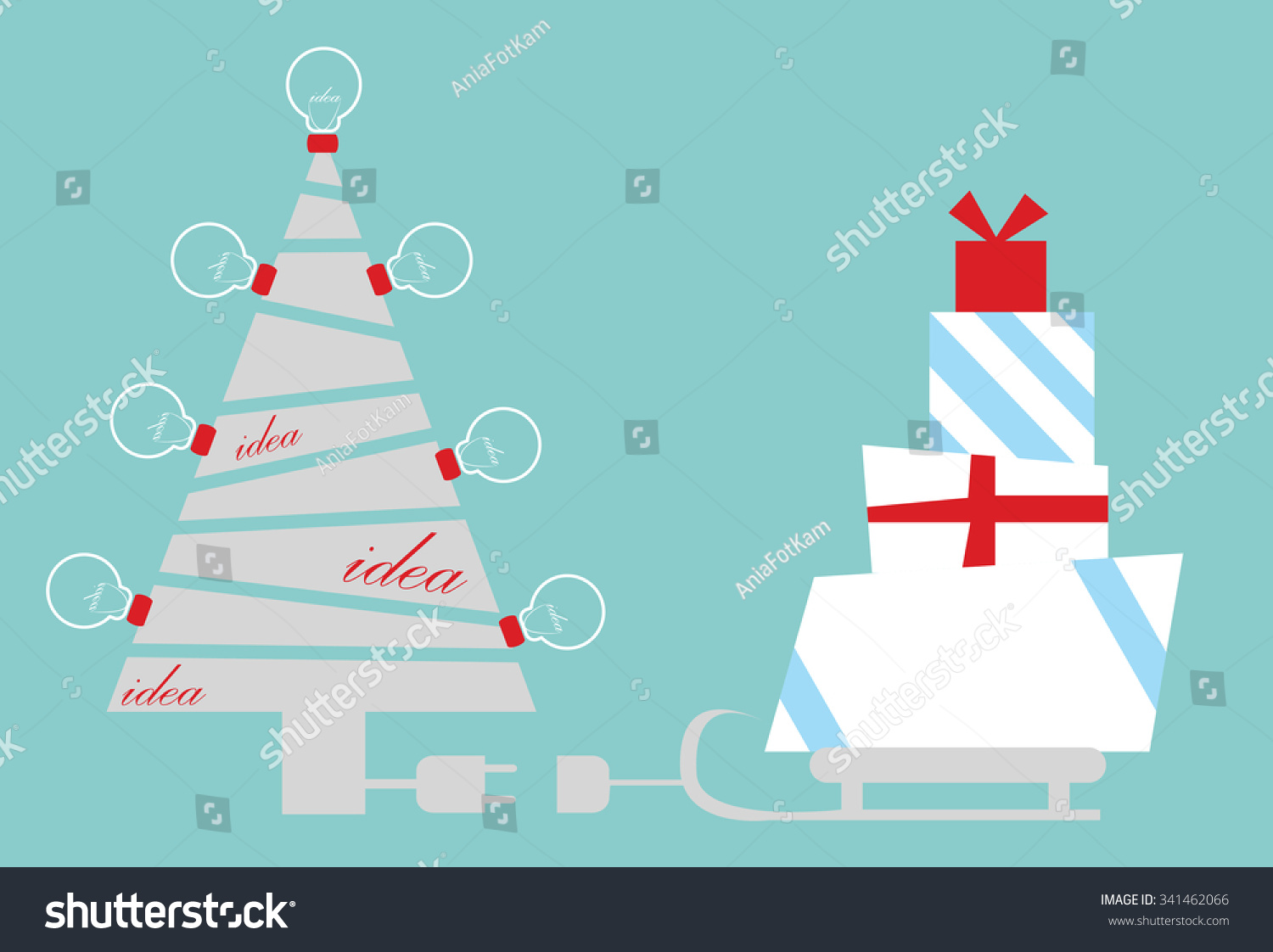 Business Christmas Card Christmas Tree Idea Stock Vector (Royalty ...