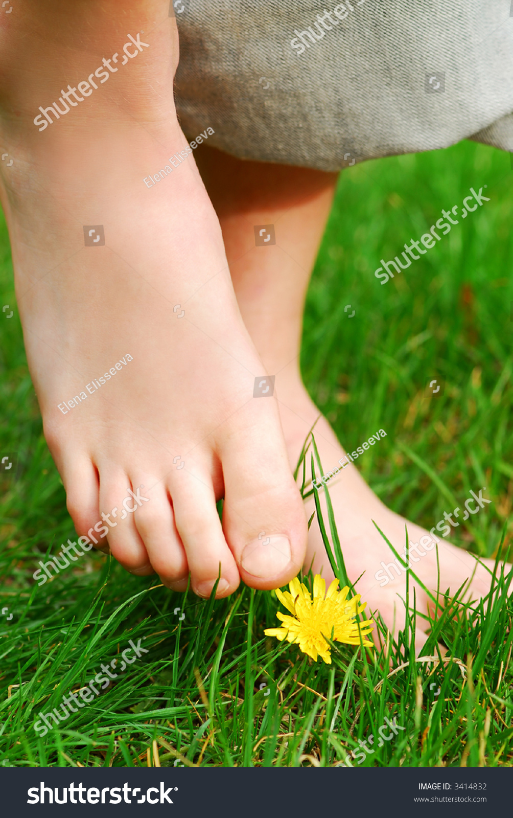Is Bare Minerals Makeup Cruelty Free: Closeup On Childs Bare Feet Green Stock Photo 3414832
