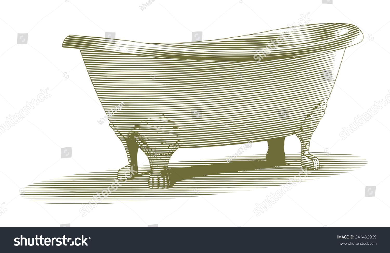 Engravedstyle Illustration Old Bathtub Stock Vector (2018) 341492969 ...