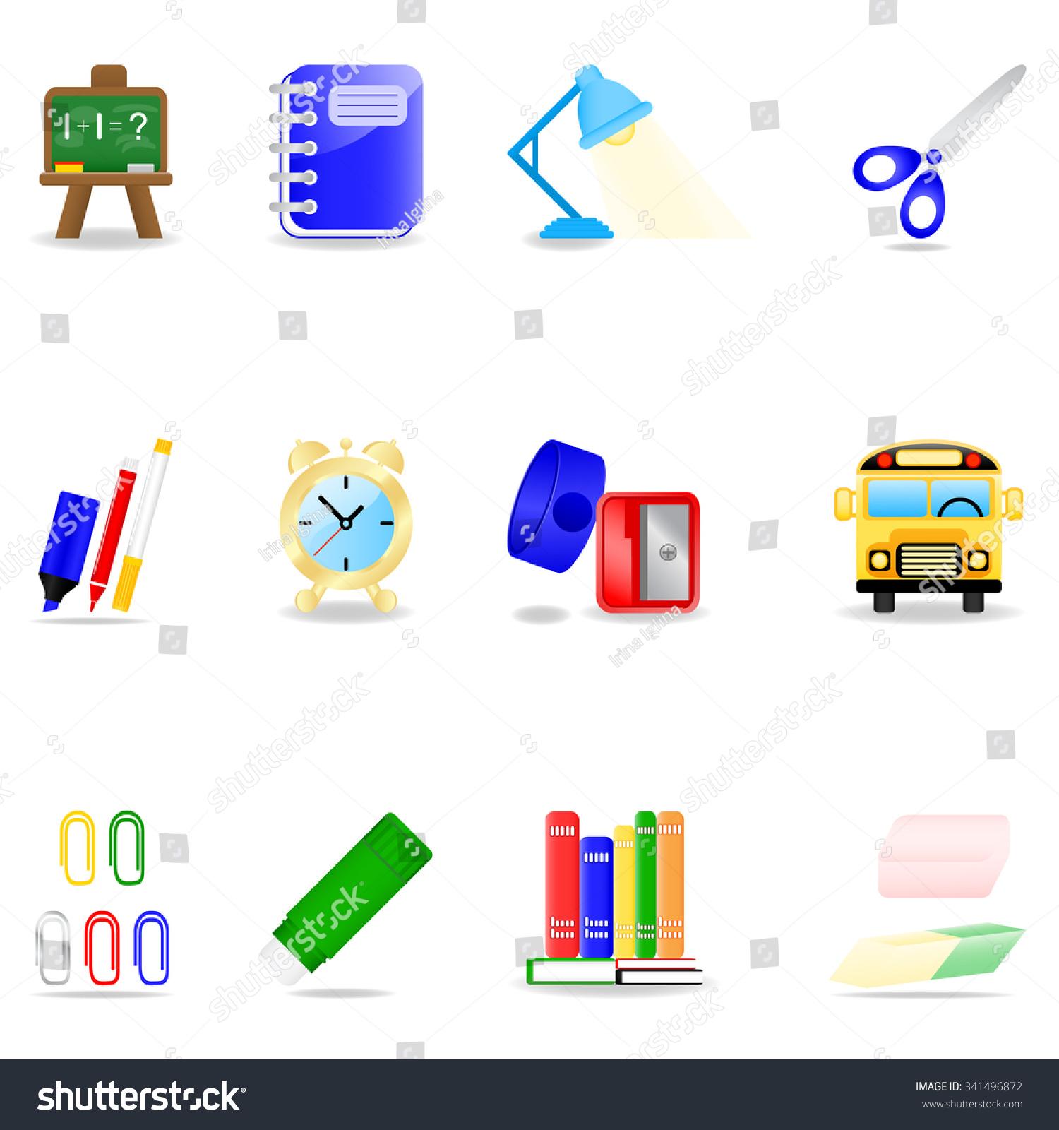 Icon set school symbols stock illustration 341496872 shutterstock icon set with school symbols buycottarizona Image collections