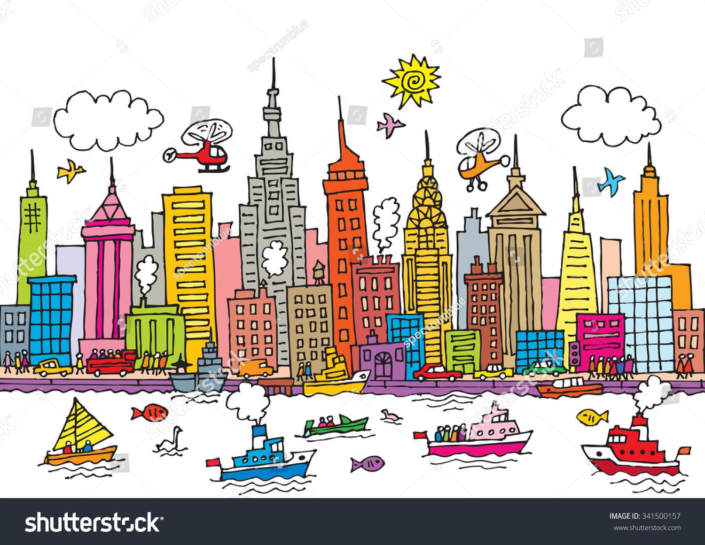 Célèbre Cartoon Style Vector Illustration New York Stock Vector 341500157  SD82