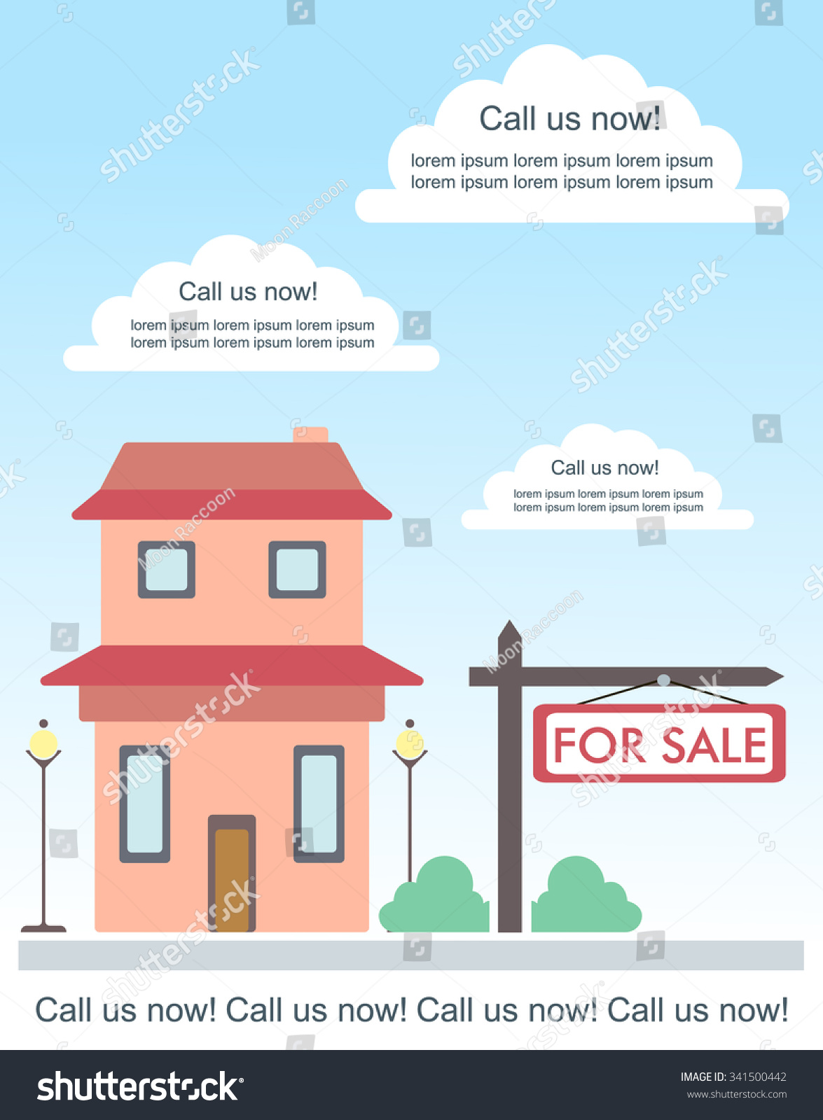 vector template advertisement about house stock vector vector template for advertisement about house for or for rent cute two storey country