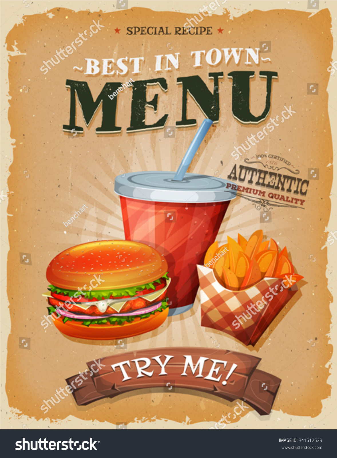 Grunge And Vintage Fast Food Menu PosterIllustration of a design vintage and grunge textured poster with burger cup of soda to drink and french fries icon for fast food snack and takeaway menu