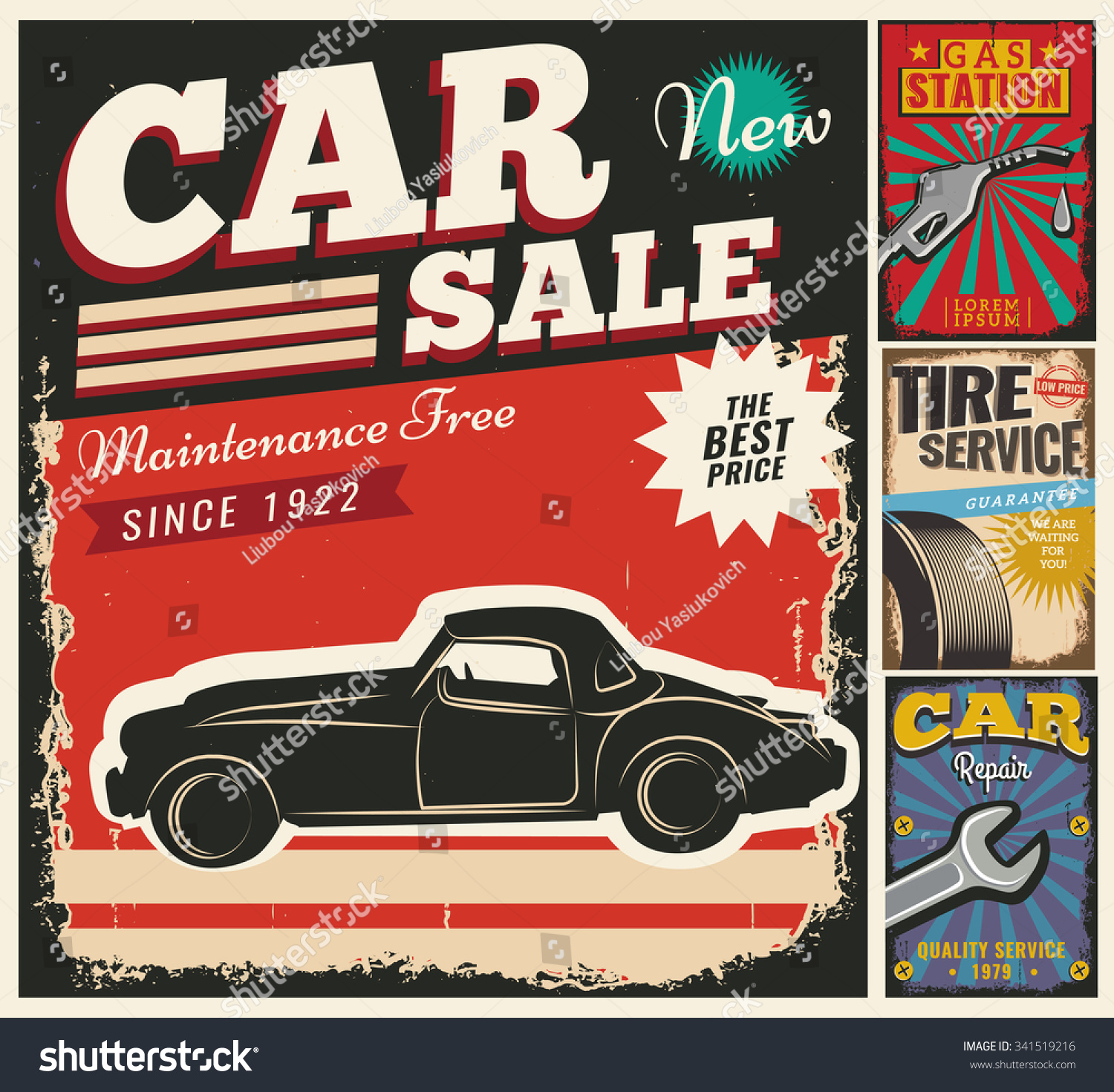 Royalty-free Vintage retro style. Set of vector cars… #341519216 ...