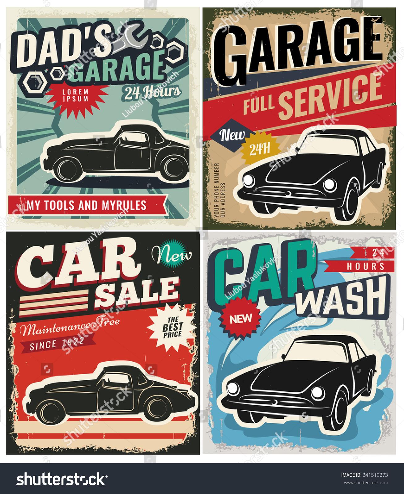 Vintage retro style set vector cars stock vector 341519273 for Garage volkswagen flers