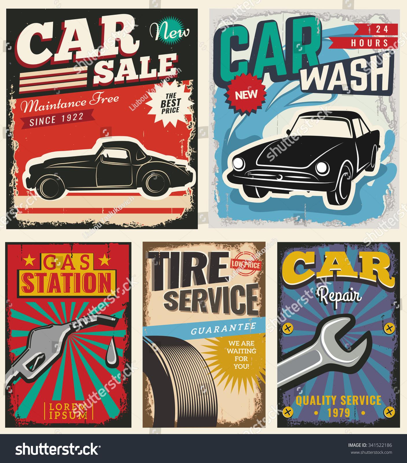 Vintage Retro Stile Set Vector Cars Vector 341522186 – Car Sale Flyer