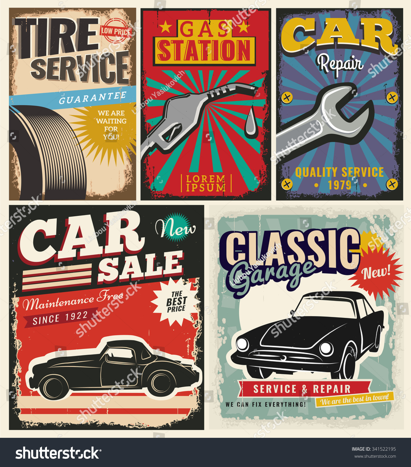Vintage Retro Style Set Vector Cars Stock Vector 341522195 ...