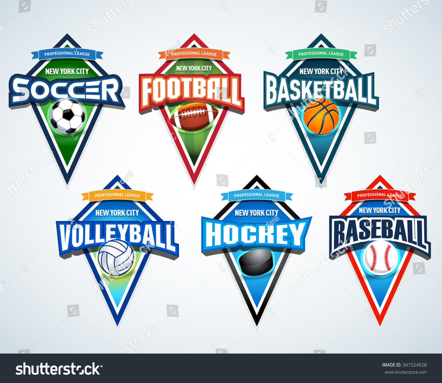 Sport Team Logo Emblems Badge Pennants Stock Vector 341524928
