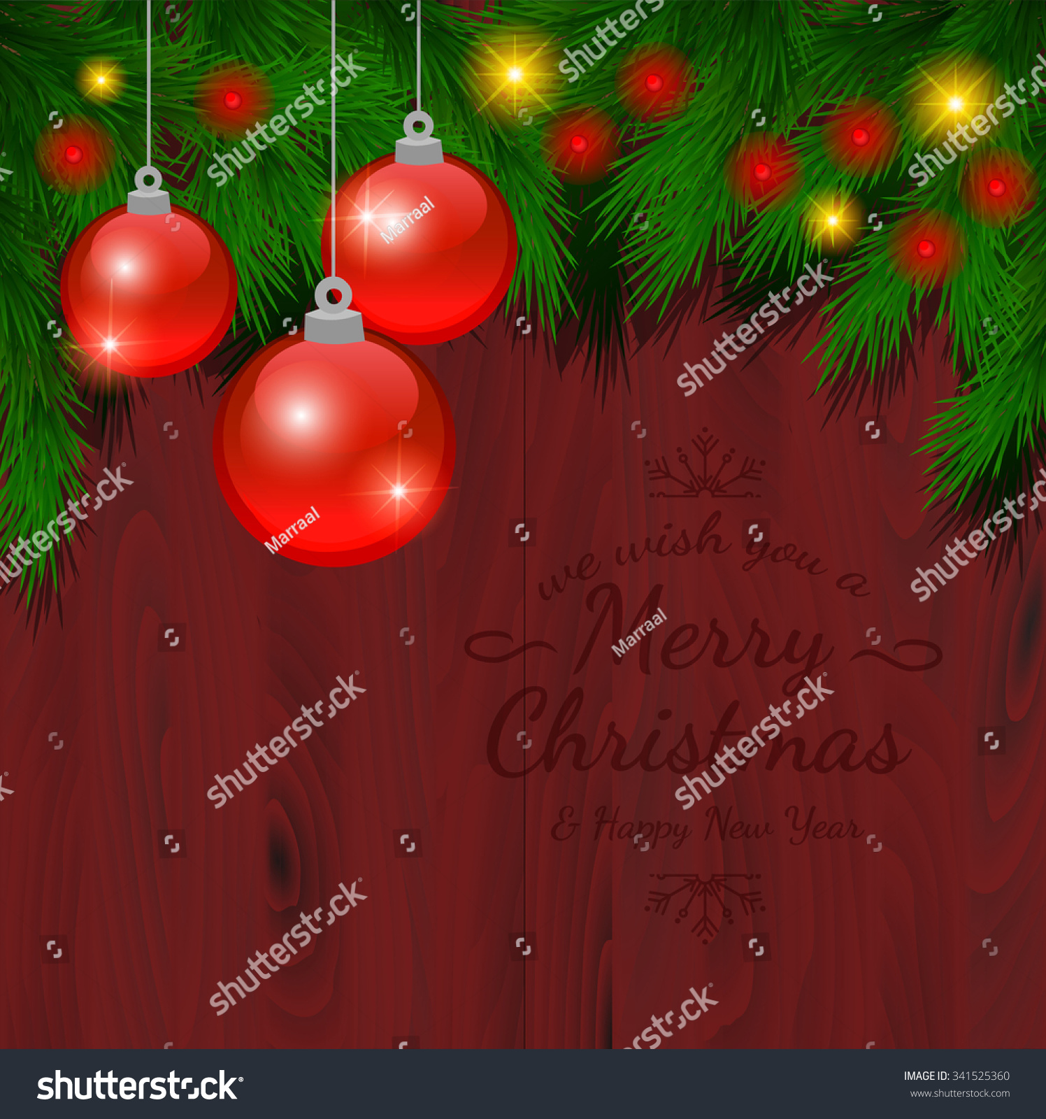 Christmas Card Ornaments Realistic Spruce Pine Stock Vector (Royalty ...