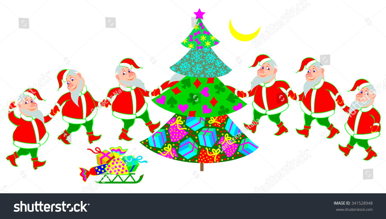 illustration of funny santa claus dancing around christmas tree vector cartoon image