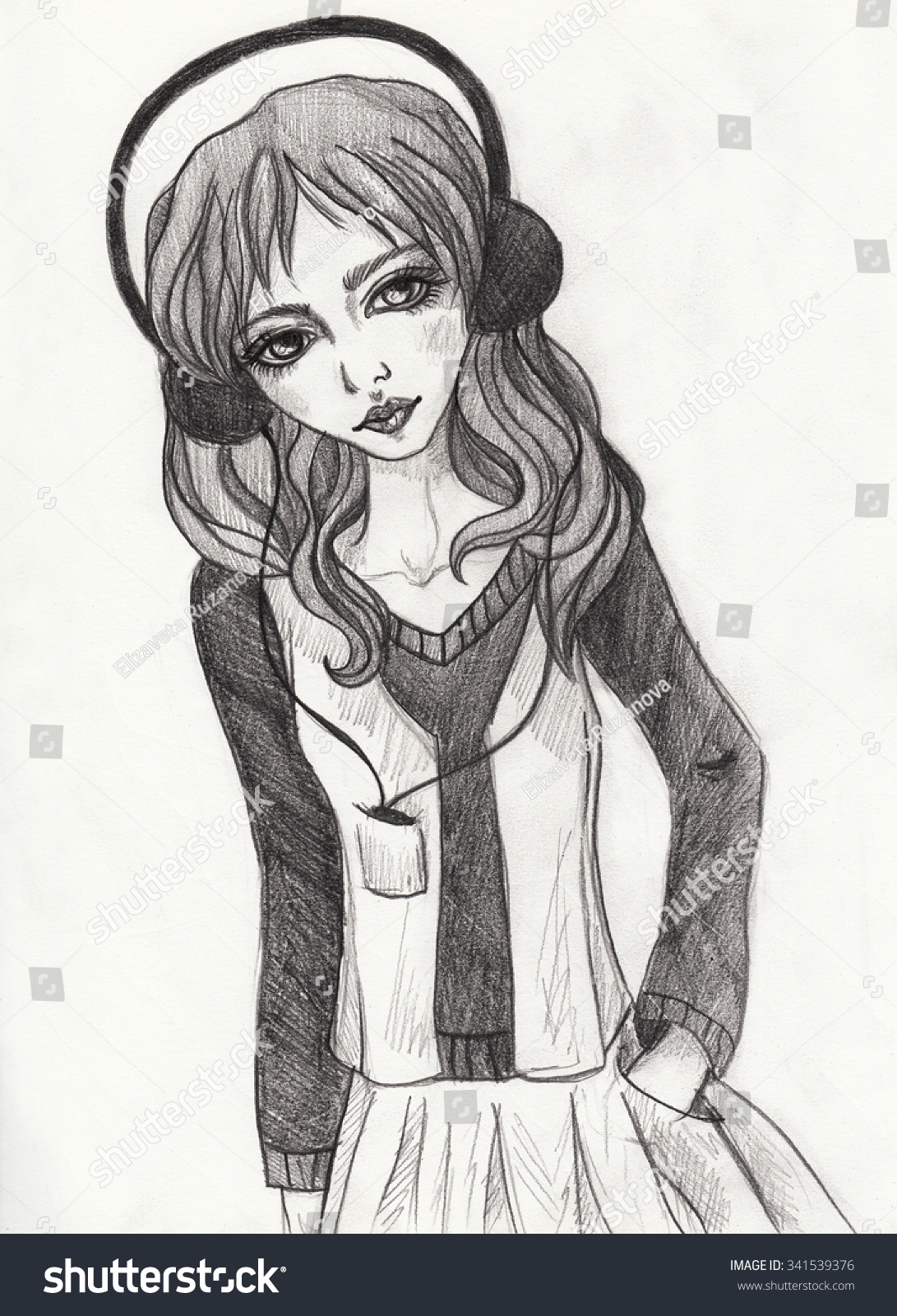 Girl listening to music pencil hand drawn illustration sketch