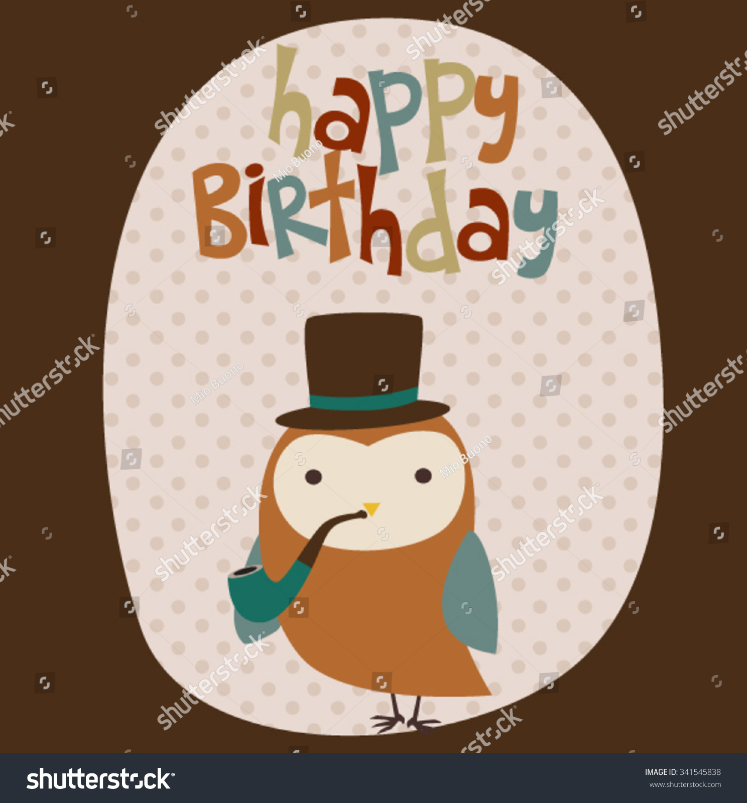 Happy Birthday Card Owl Hipster Vector 341545838 Shutterstock – Hipster Birthday Cards