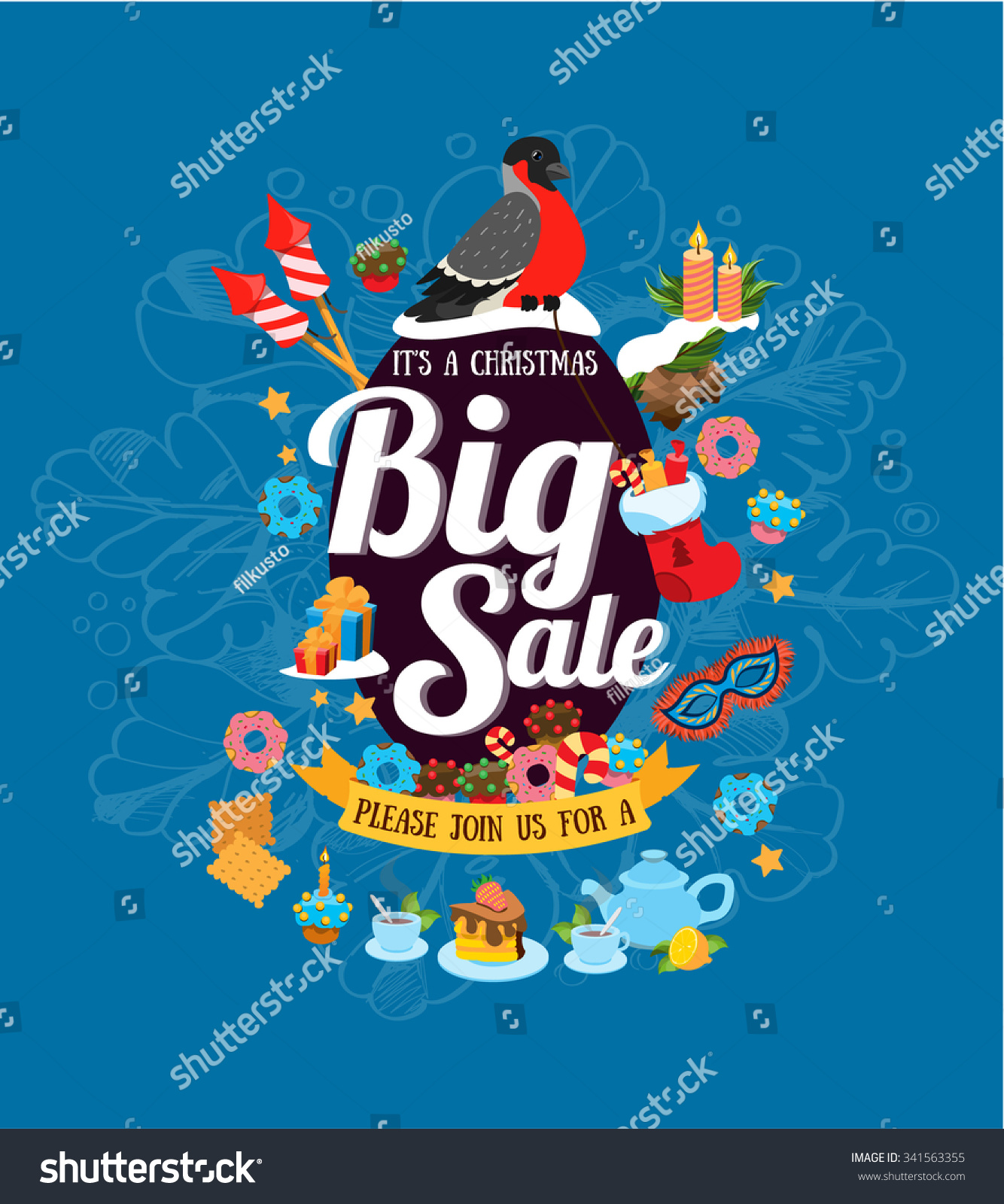 christmas big on blue background stock vector  christmas big on the blue background poster flyer