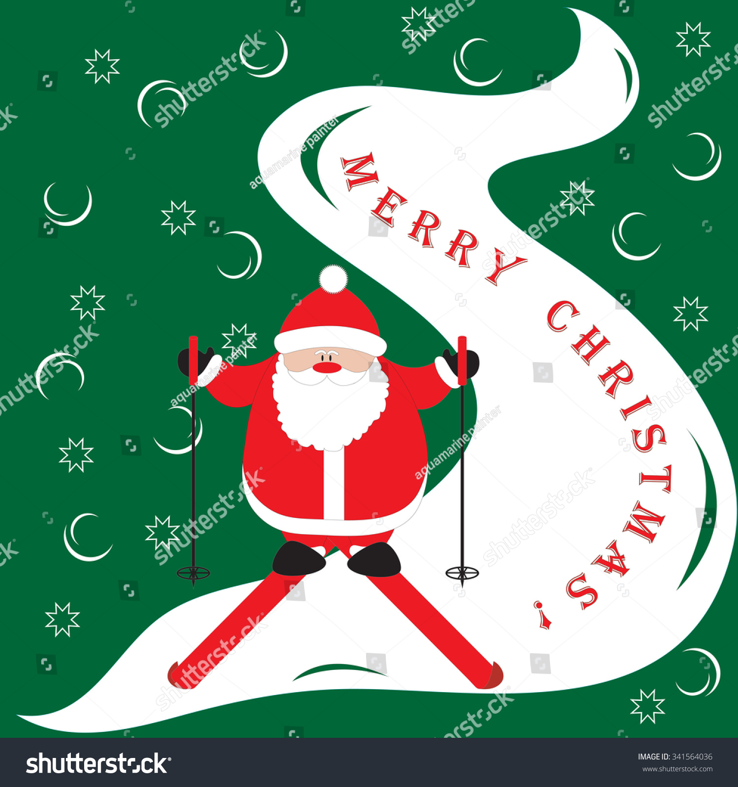 Cartoon Picture Santa Claus Moving Down Stock Vector 341564036