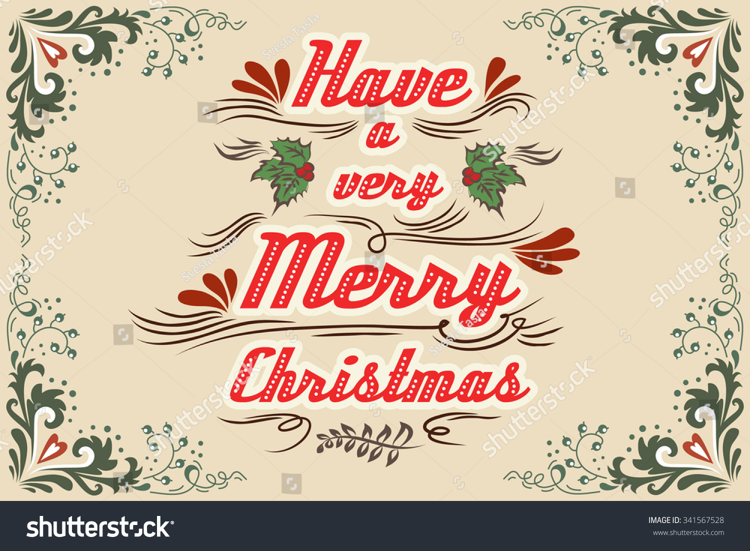 have a very merry christmas hand drawn vintage typography greeting card lettering vector