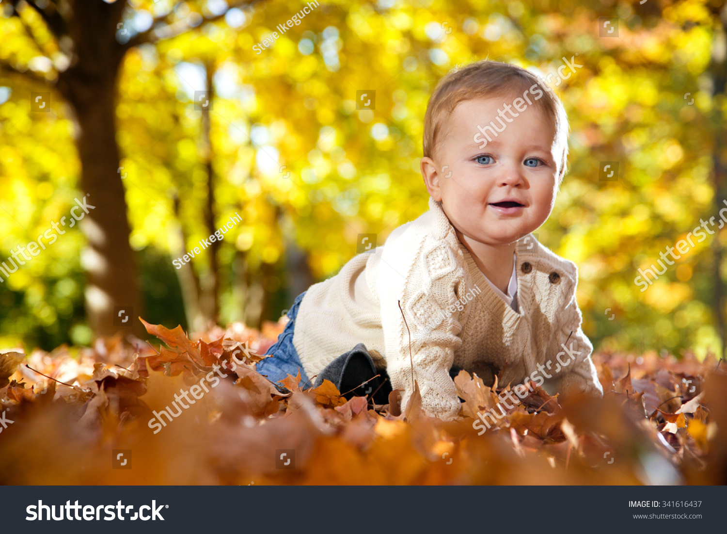 Baby boy in fall leaves