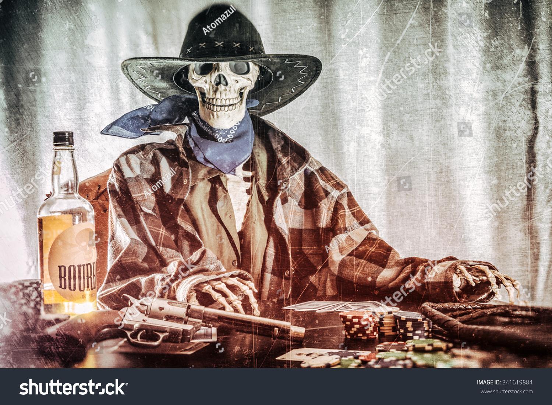 Old West Poker Skeleton Bourbon Gun Old West Bandit