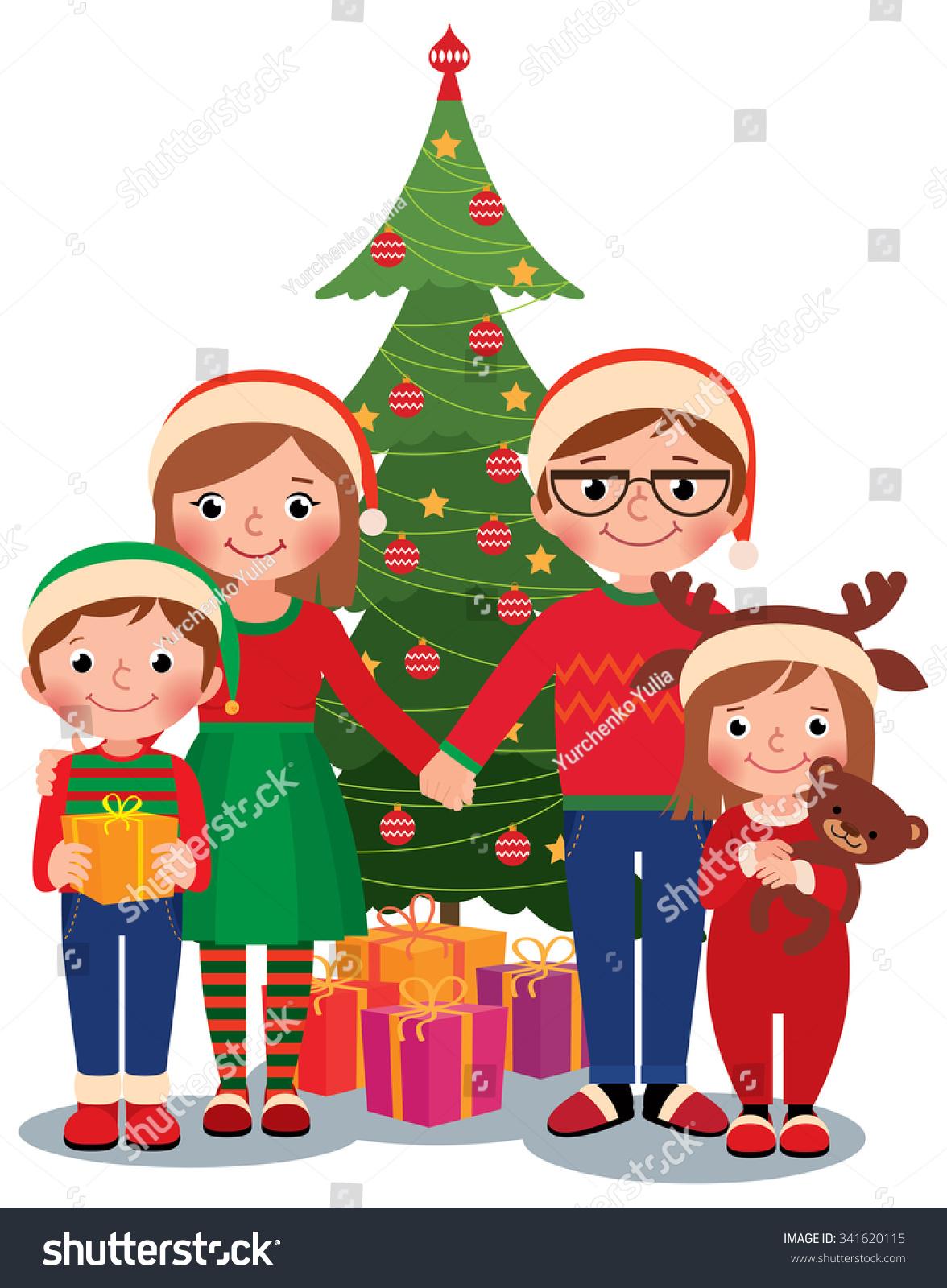 Cartoon Vector Illustration Family Christmas Tree Stock Vector ...
