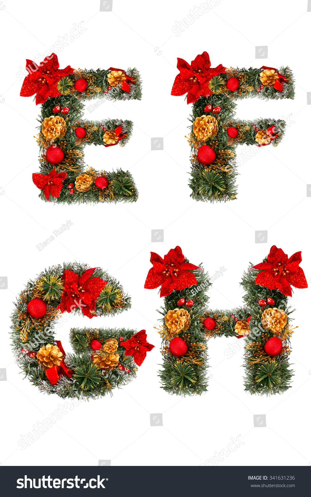 Christmas alphabet letters e f g stock photo 341631236 for Letter f decoration