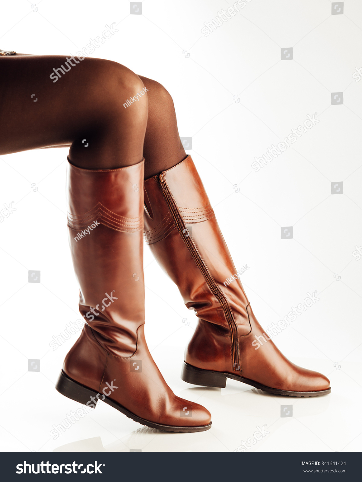 Woman Legs Wearing Brown Leather High Stock Photo Edit Now
