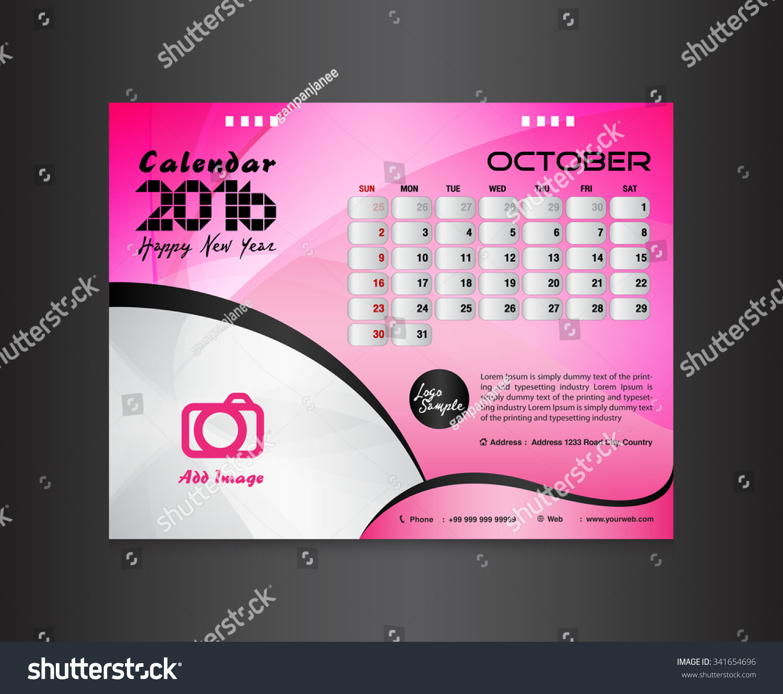 Calendar Typography Gear : Pink desk calendar vector design template lendar