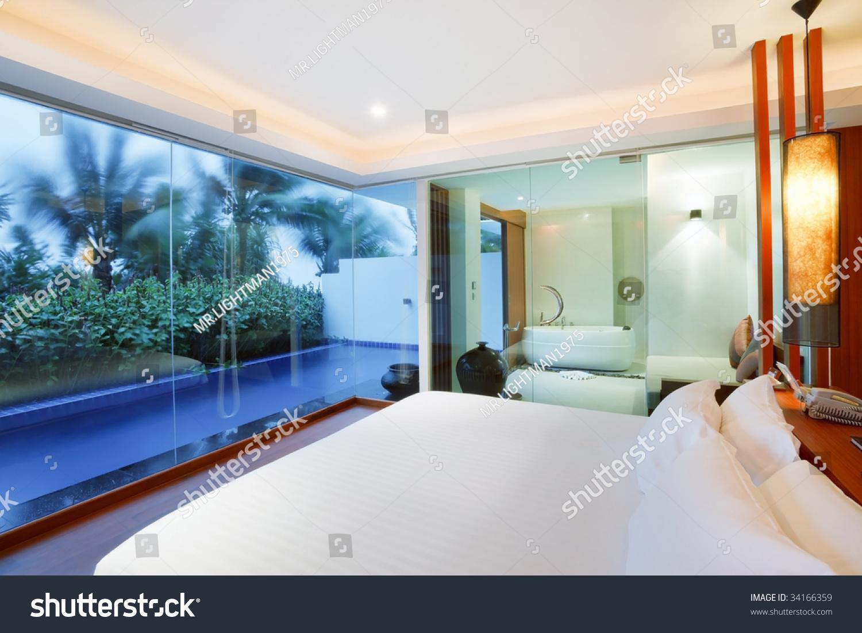 honeymoon sweet bedroom with swimming pool. Honeymoon Sweet Bedroom Swimming Pool Stock Photo 34166359