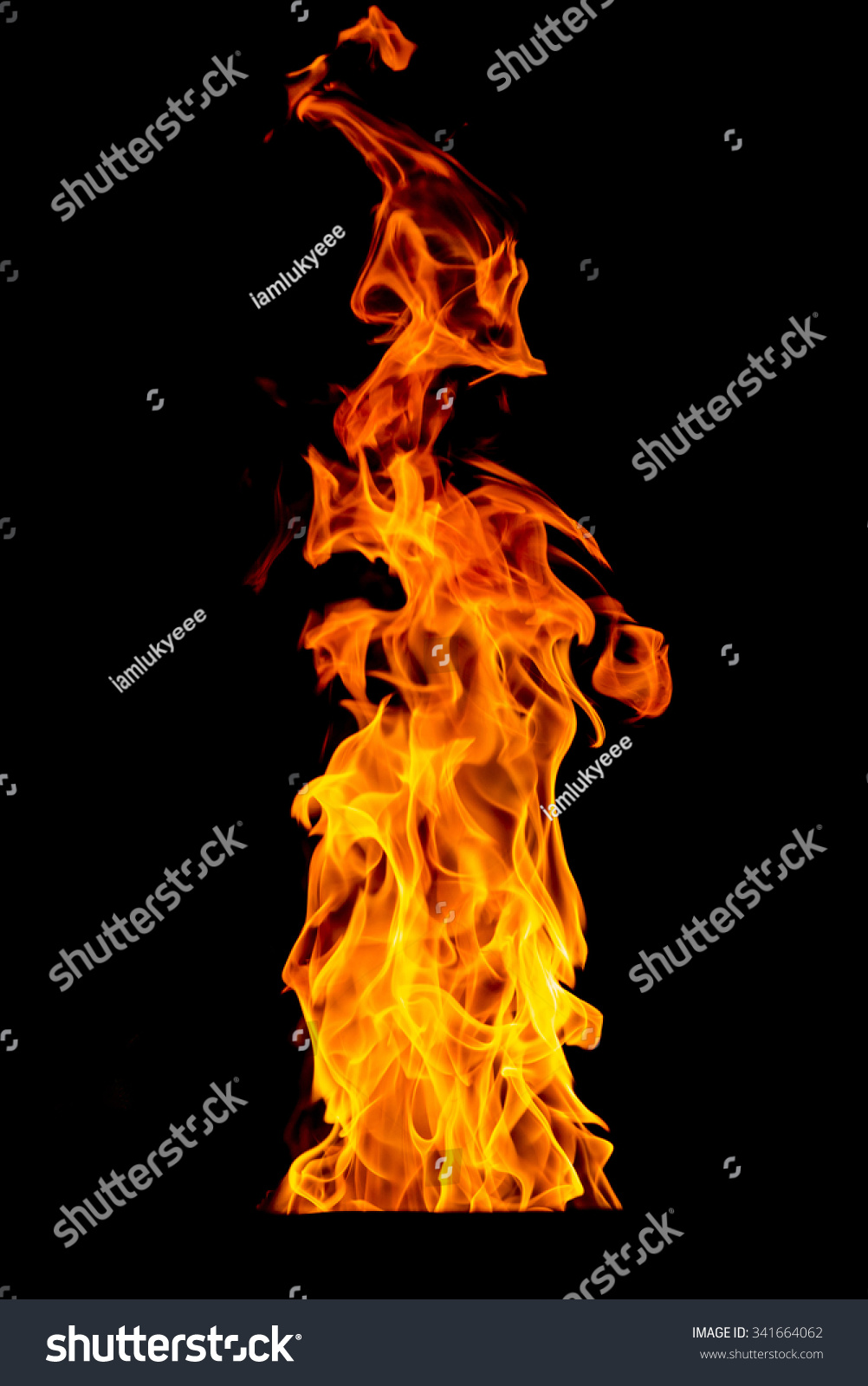 yellow fire flame isolated on background stock photo