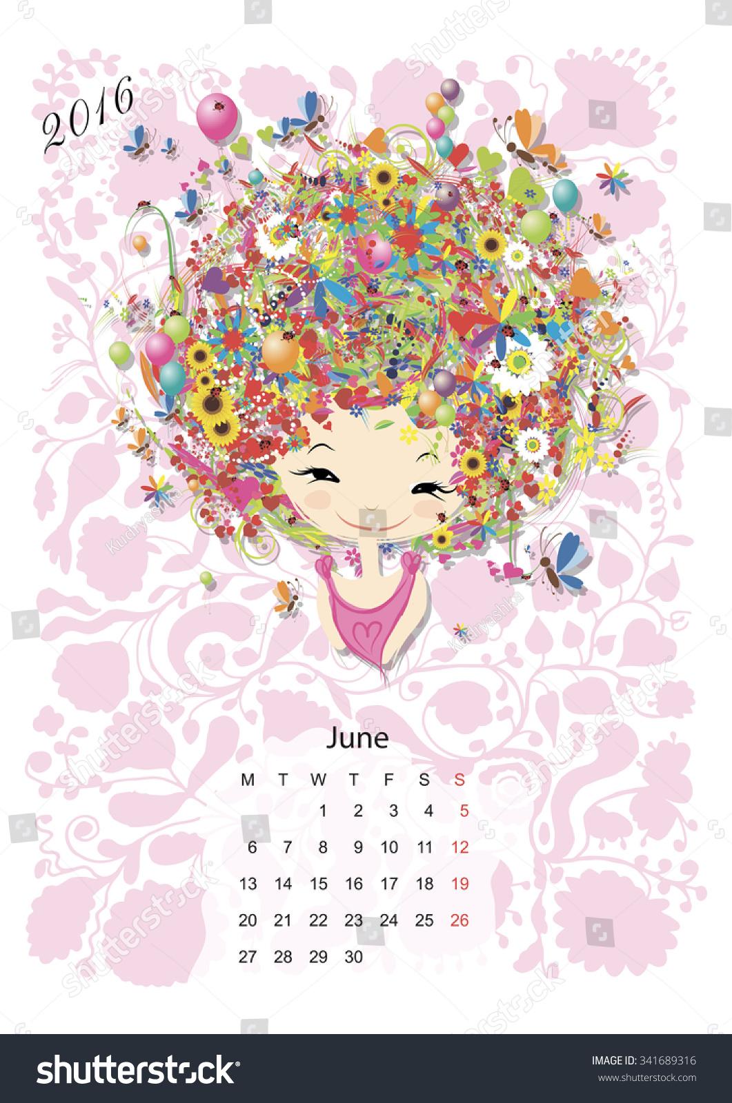 June Calendar Girl Series : Calendar june month season girls design vector