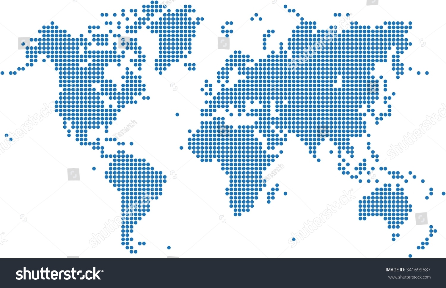 Blue dots world map on white vectores en stock 341699687 shutterstock blue dots world map on white background vector illustration gumiabroncs Choice Image
