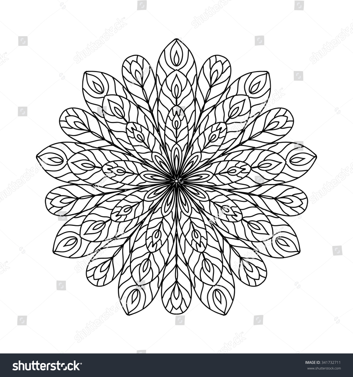 Abstract Zentangle Coloring Page Stock Vector Shutterstock