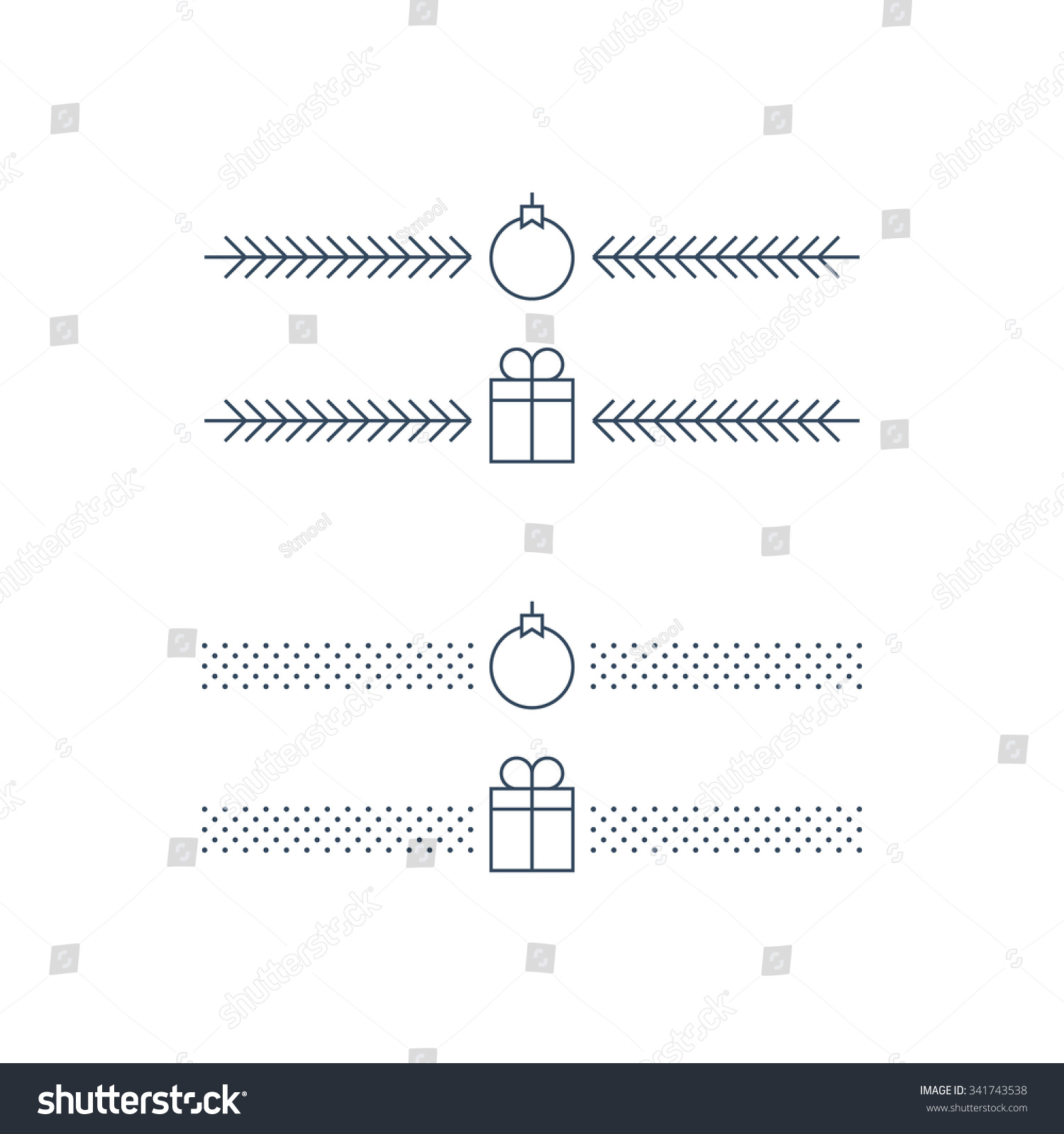 New Year Minimalist Text Separator Christmas Stock Vector Royalty